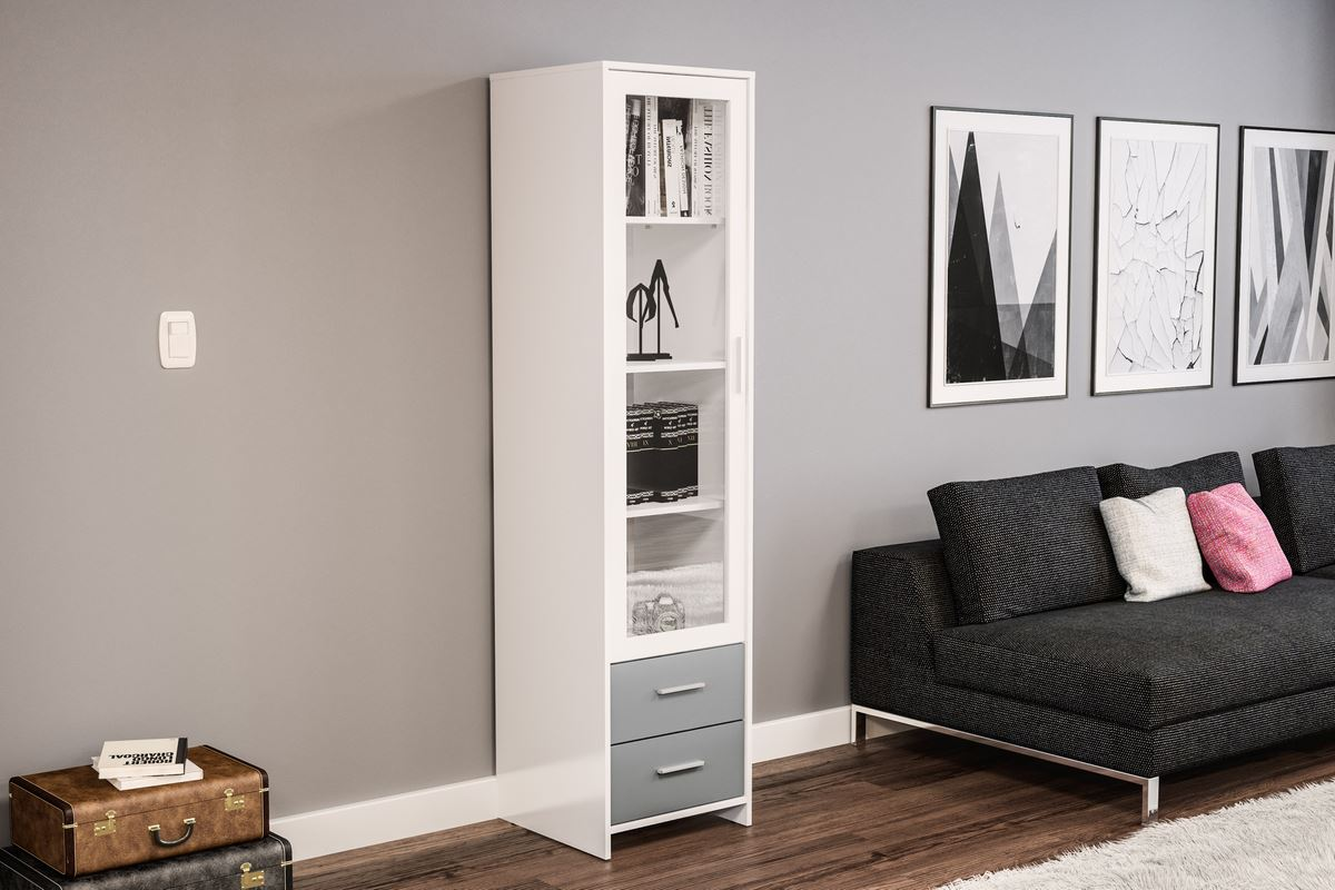 Birlea Edgeware Glass Door Display Cabinet Bookcase Grey & White Gloss