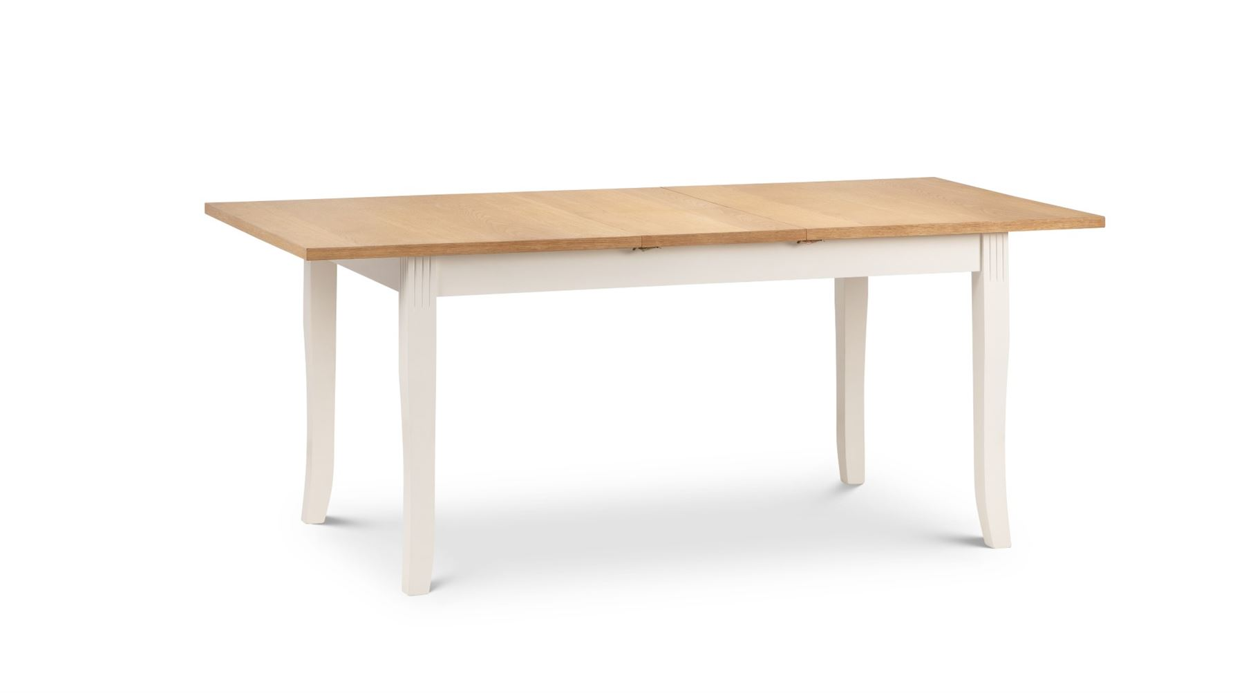 Julian Bowen Davenport Extending Rectangular Oak Ivory Dining Table Solid Wood