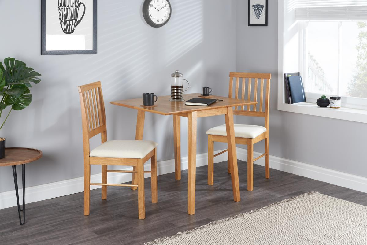 Birlea Square Drop Leaf Solid Wood Dining Table 2 Chairs Kitchen Set Oak Finish