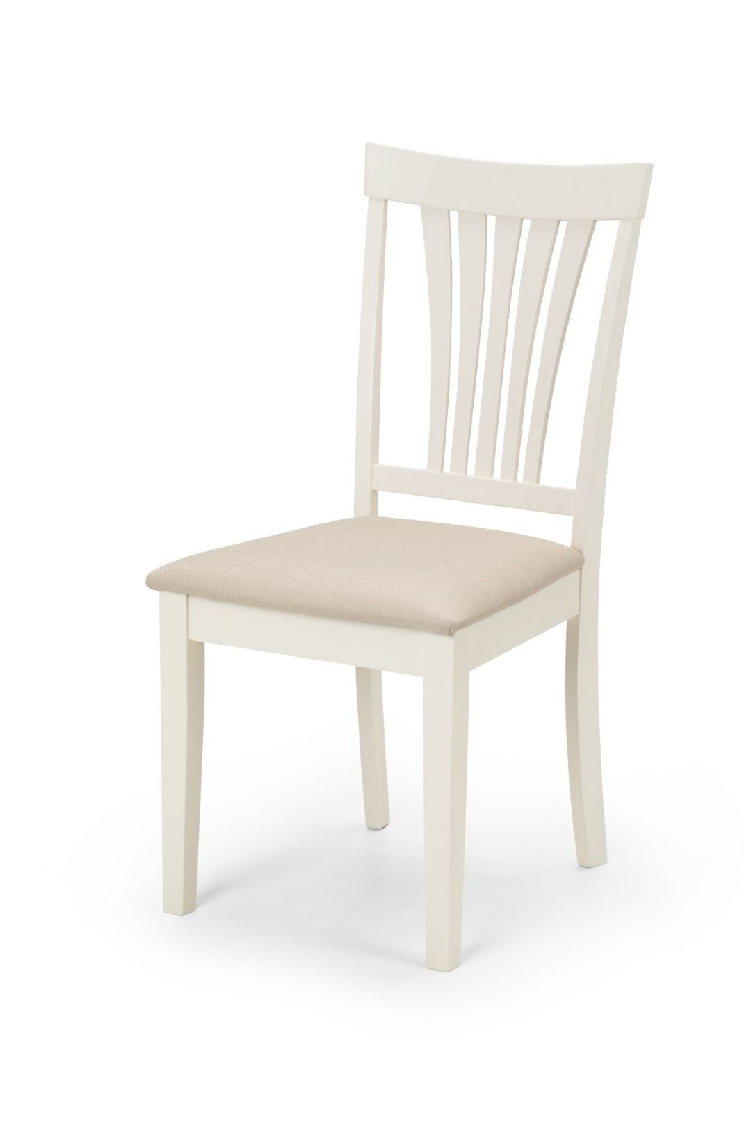 Julian Bowen Stamford 2 x Dining Chair Ivory Off White Solid Wood Faux Sued Seat