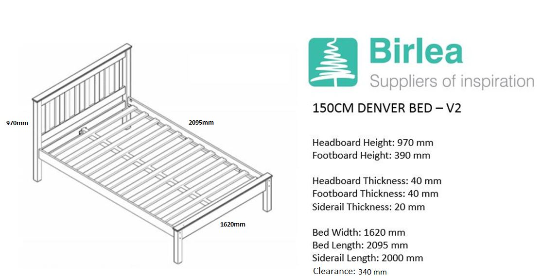 Birlea Denver King Size Bed Frame Solid 150cm 5FT White Ivory Wood Shaker Style