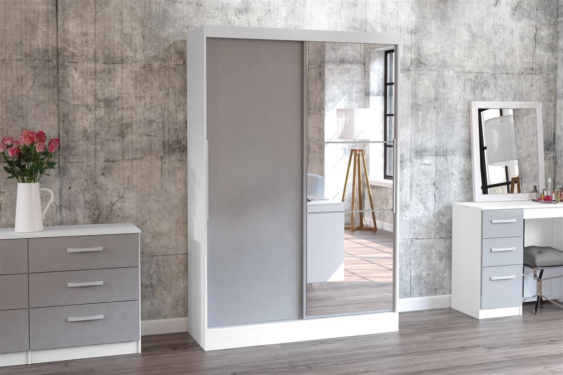 Birlea White Gloss & Grey Gloss Lynx Sliding Slider 2 Door Mirror Wardrobe Robe