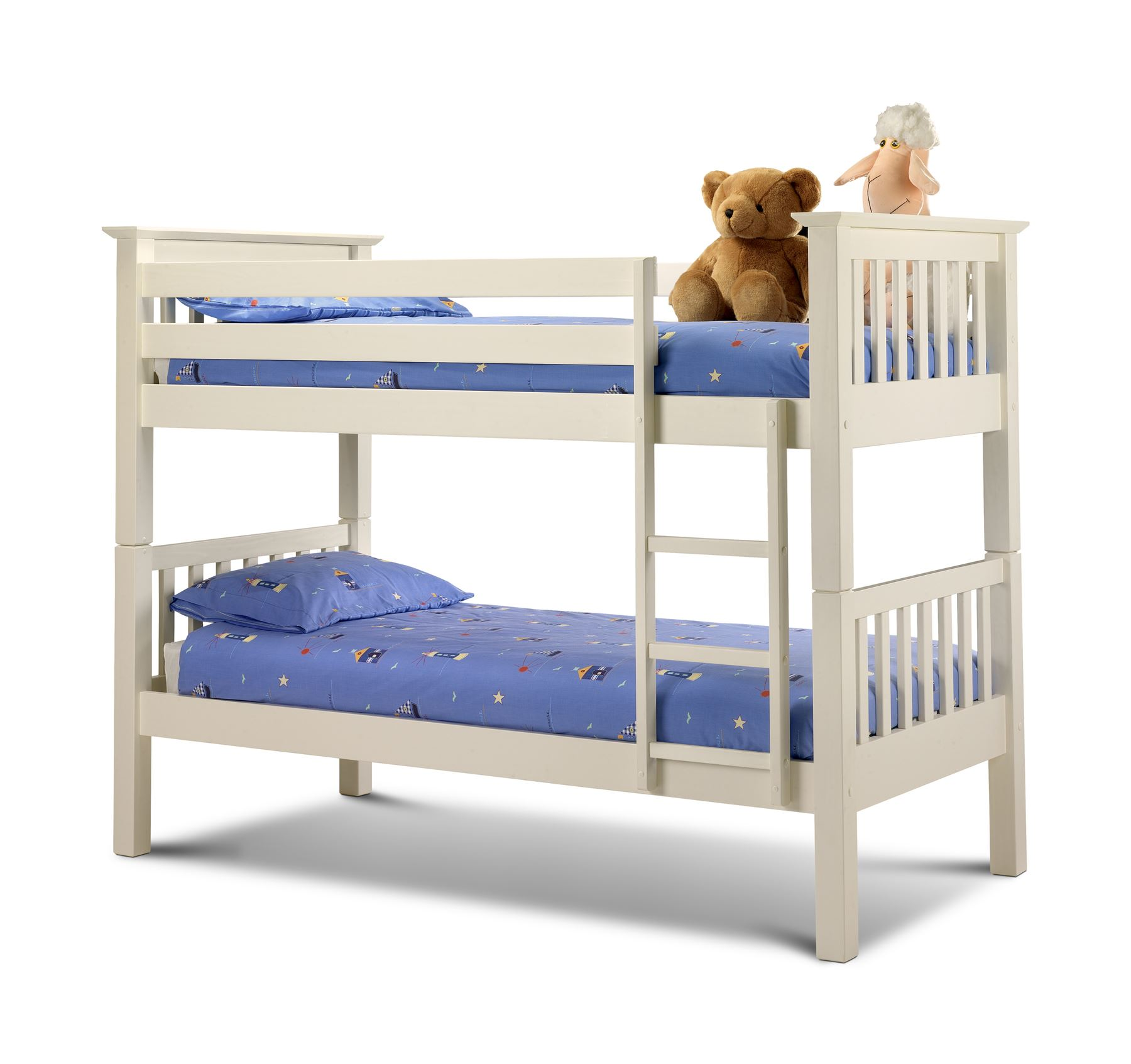Julian Bowen Barcelona Bunk Bed Solid Wood Bed Frame 3FT Single 90cm Stone White