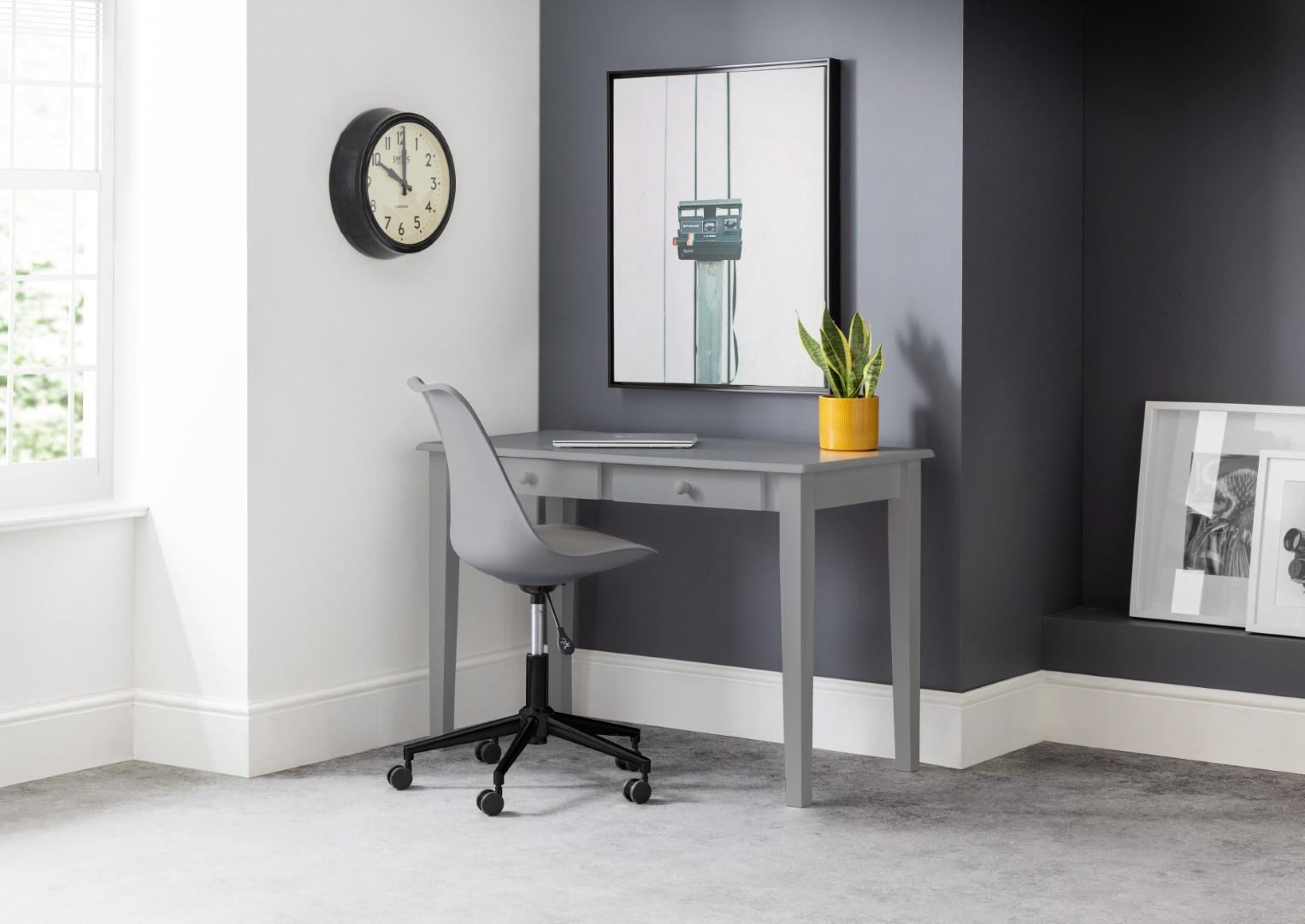 Julian Bowen Carrington Grey Study Home Office Desk Wood Dressing Table