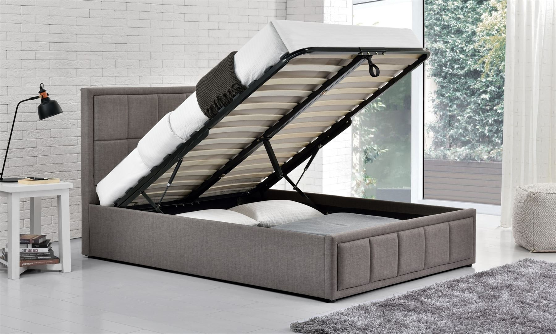 Hannover Ottoman Bed Frame 4FT6 135cm Double Bedstead Storage Grey Fabric