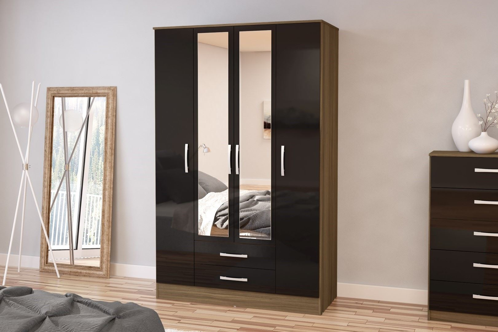 Lynx High Gloss Black and Walnut 4 door 2 drawer bedroom wardrobe new