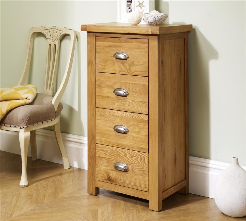 Birlea Woburn 4 Drawer Narrow Solid Chest Oak Wood Traditional Design Assembled