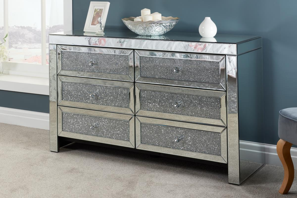 Birlea Vienna Mirrored 6 Drawer Bevelled Mirror Chest Crystal Handle