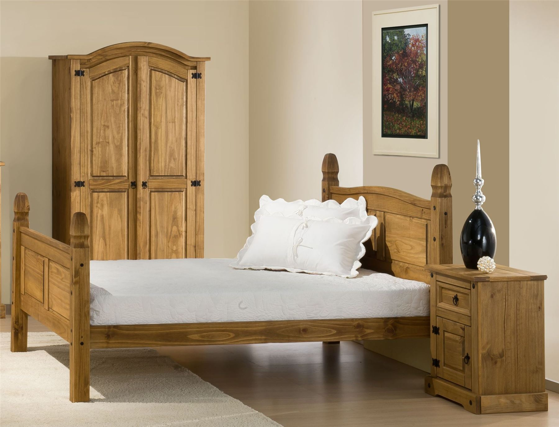 Corona Mexican Solid Pine High Foot End 150cm Bedstead 5'0'' kingsize bed Frame