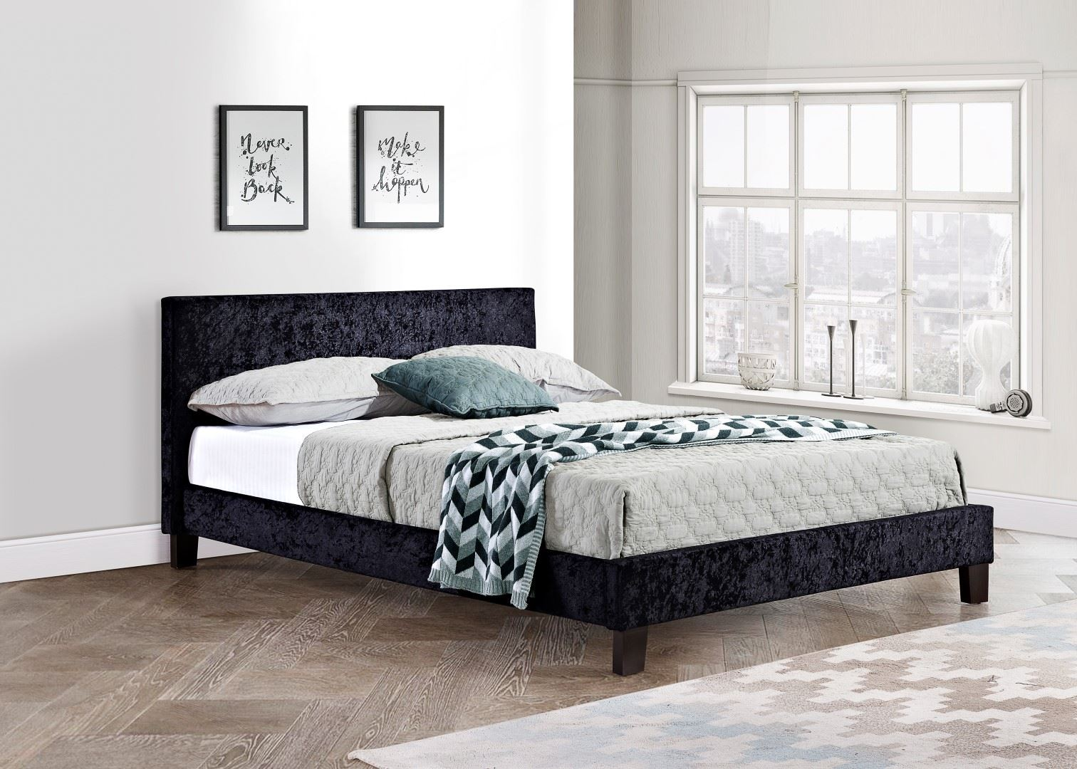 Birlea Berlin Black Crushed Velvet Bed Small Double 4FT 120CM Frame Upholstered