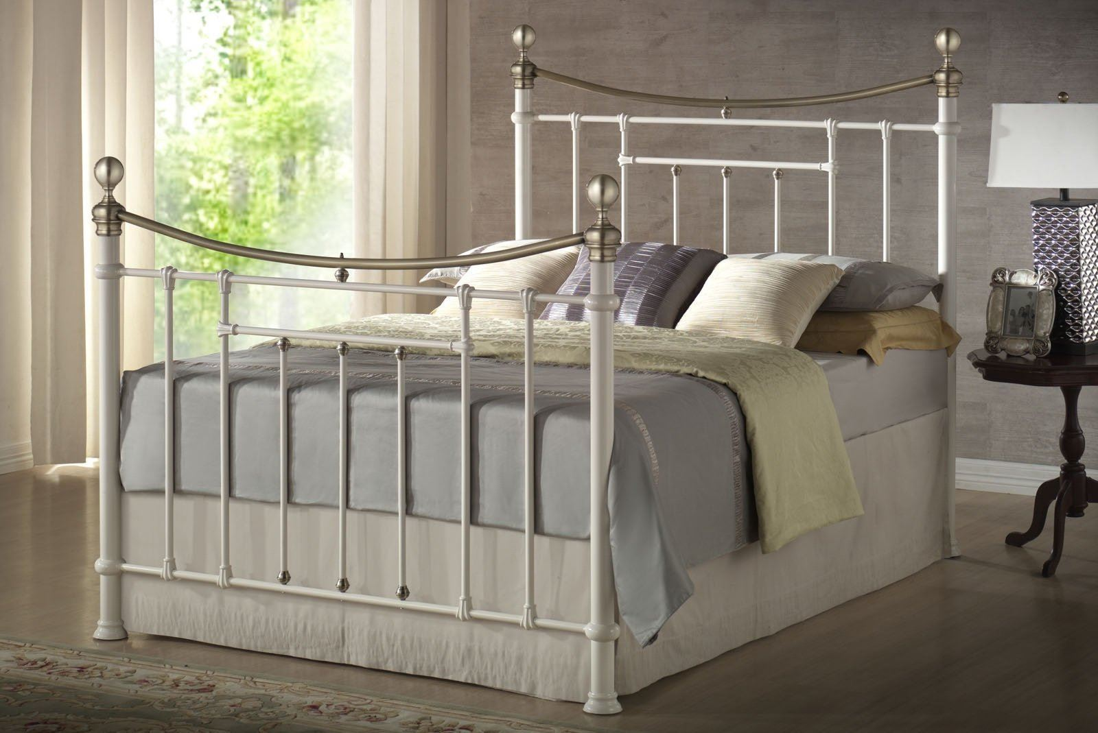 Bronte Antique Brass Cream Double 4FT6 135cm Metal Bed Frame