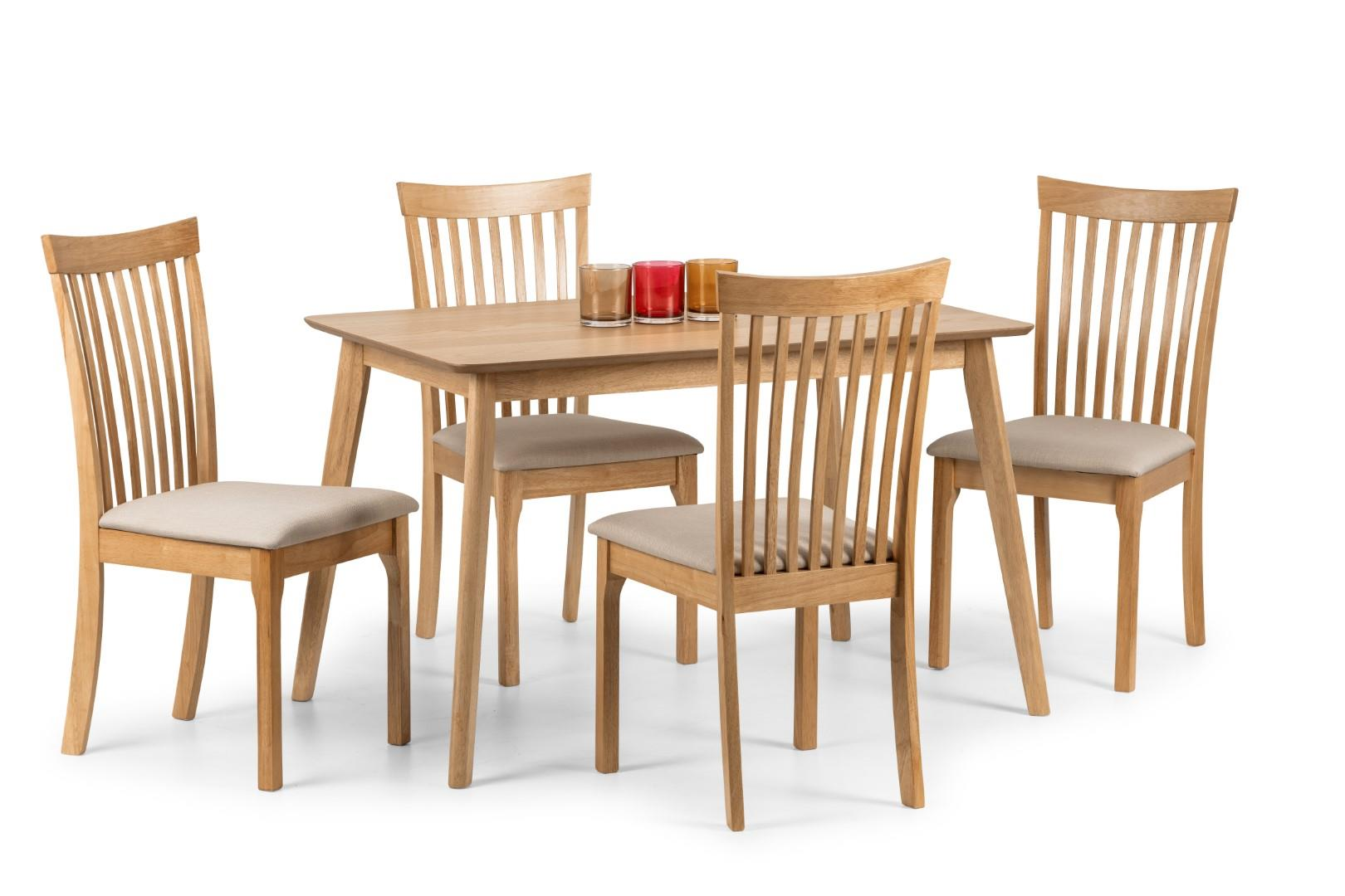 Julian Bowen Boden Oak Rectangular Dining Set Kitchen Table 4 Ibsen Chairs