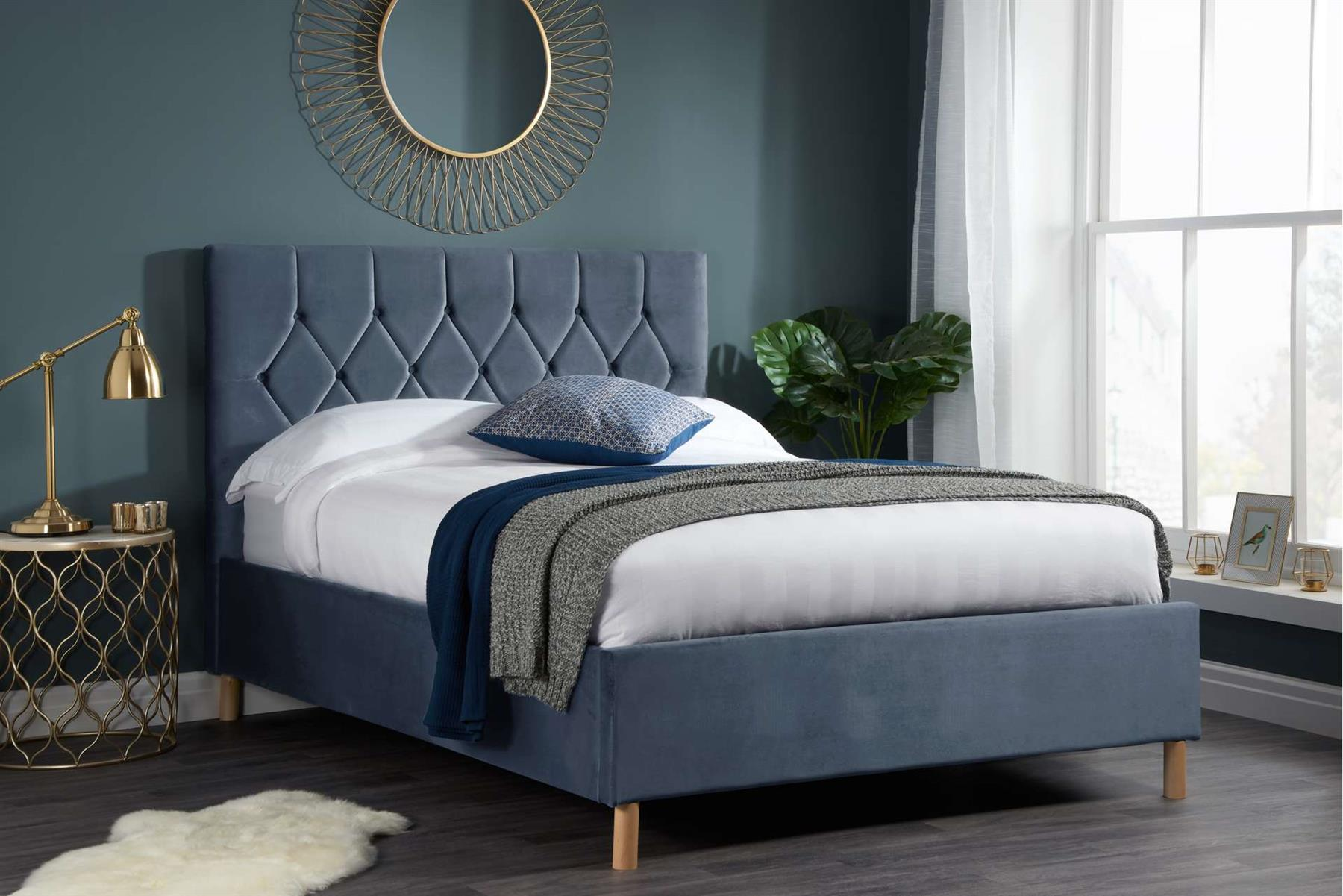 Birlea Loxley Bed Frame 120cm Small Double 4FT Grey Fabric Bedstead