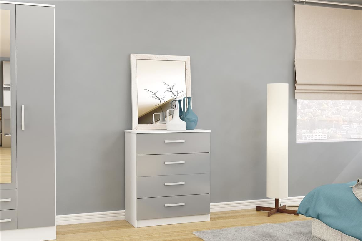 Birlea White Gloss & Grey Gloss Lynx 4 Drawer Medium Chest