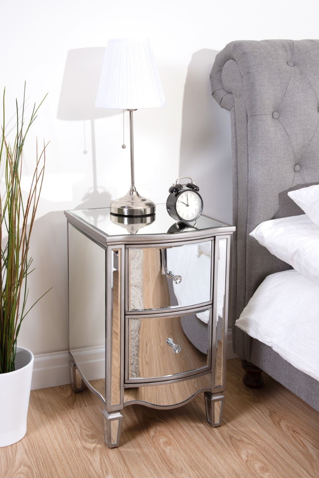 Birlea Elysee Mirrored 2 Drawer Mirror Furniture Bedside Chest Crystal Handle