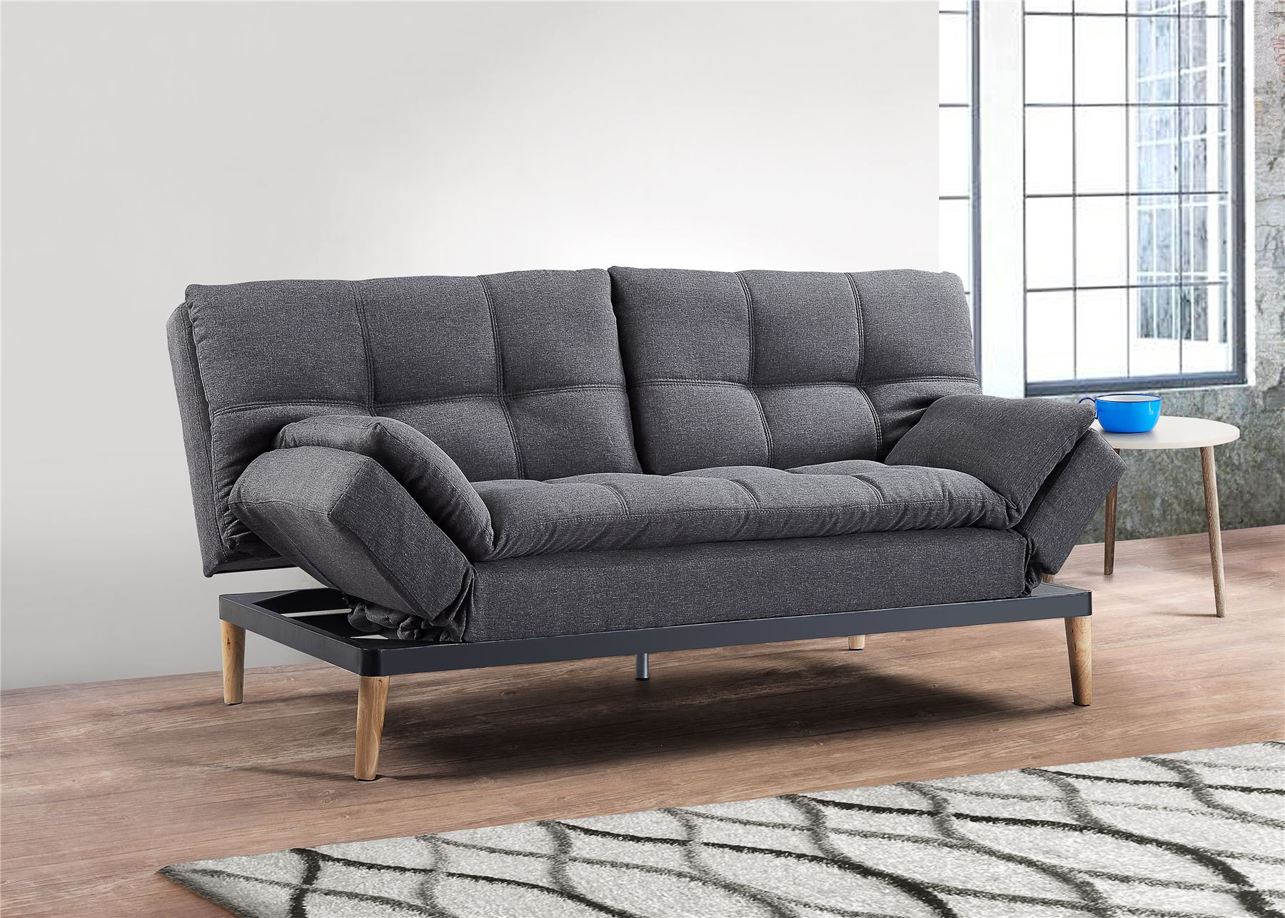 Birlea Squish Sofa Bed 3 Seater Settee Grey Velvet Fabric Scandinavian Retro