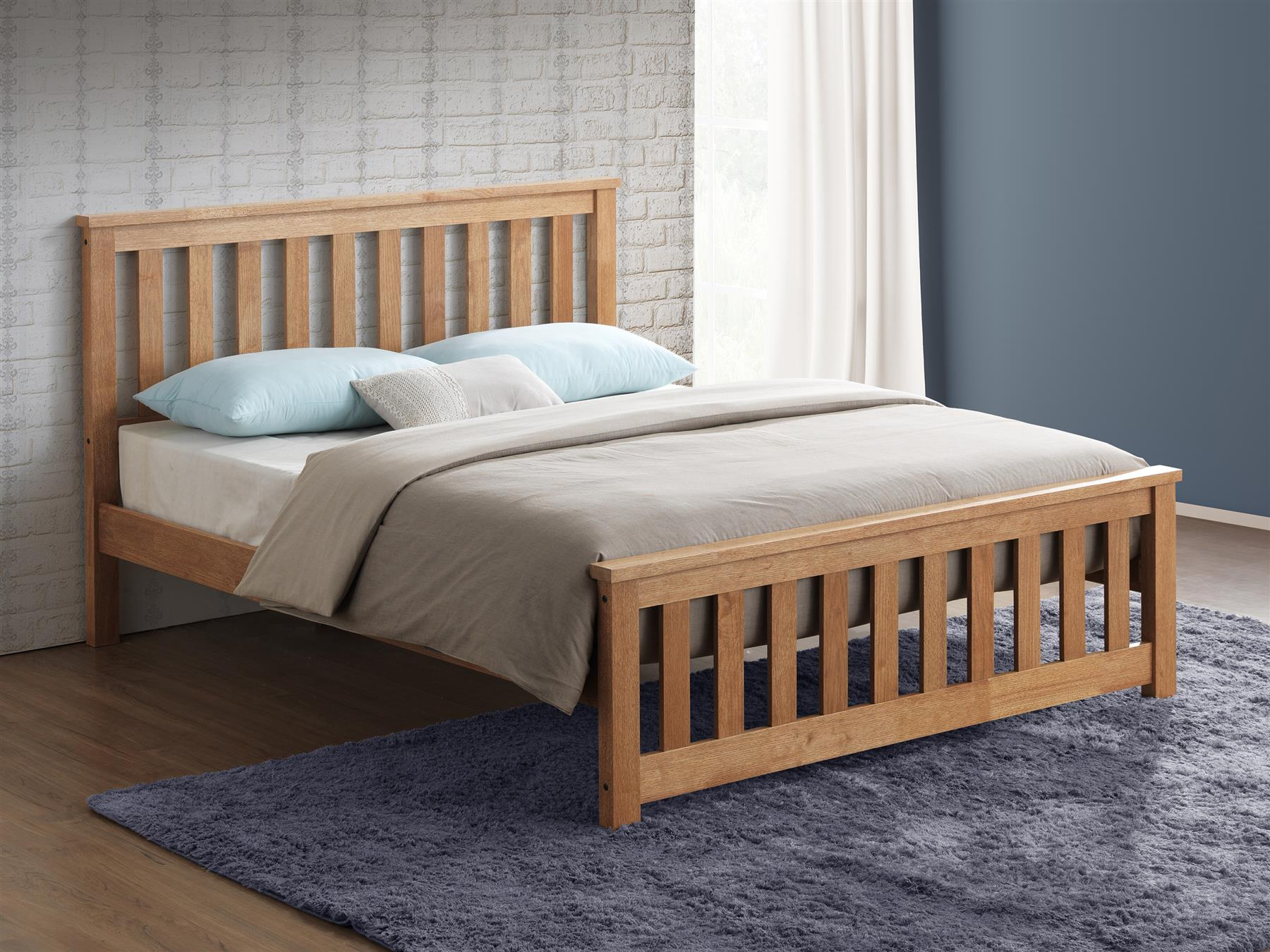 Sweet Dreams Conrad Solid Hevea Wood Oak Finish King Size Bed Frame 5FT 150cm