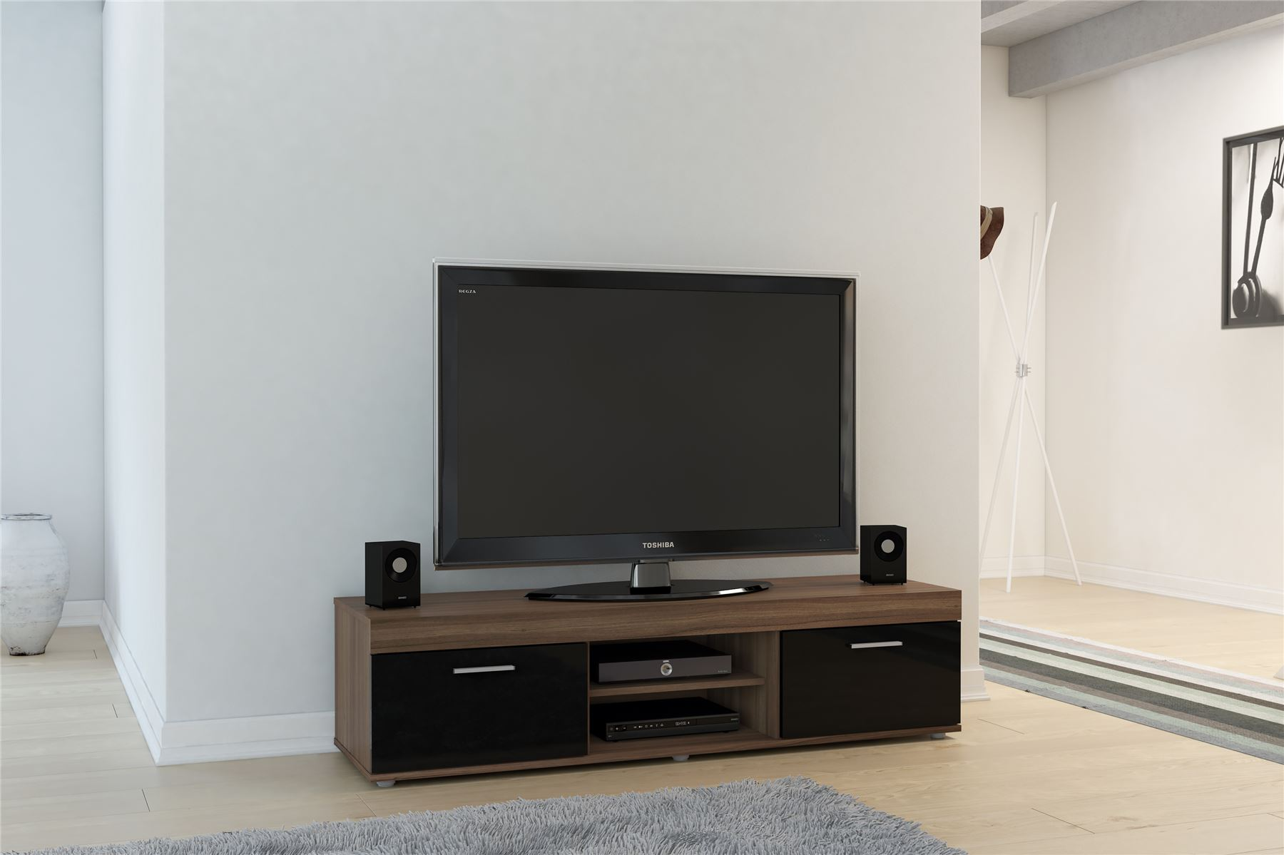 Black Gloss Walnut Living Room Cupboard TV Entertainment Unit Stand Cabinet