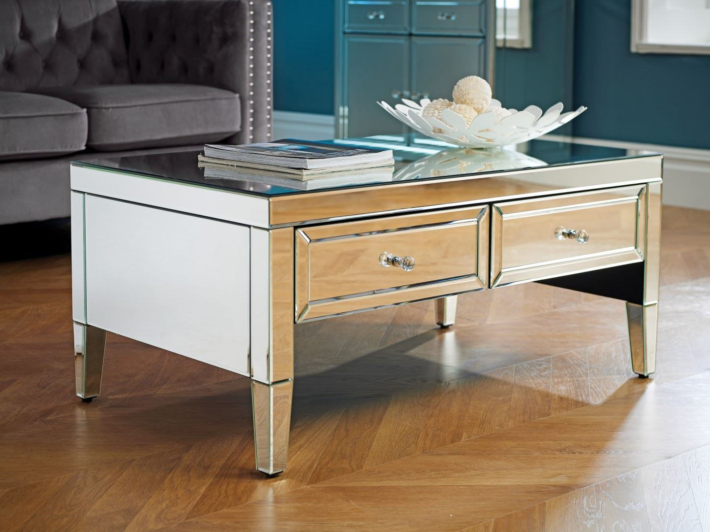 Birlea Valencia Mirrored 2 Drawer Coffee Table Bevelled Glass Modern Designer