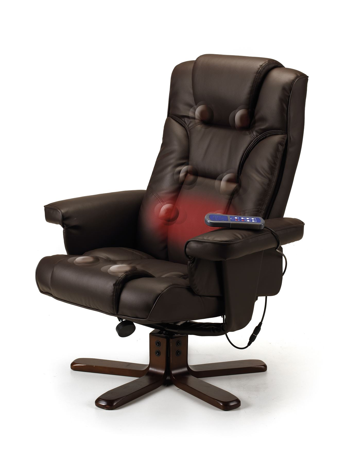 Julian Bowen Malmo Electric Heat Massage Manual Recliner Stool Brown Faux Leather