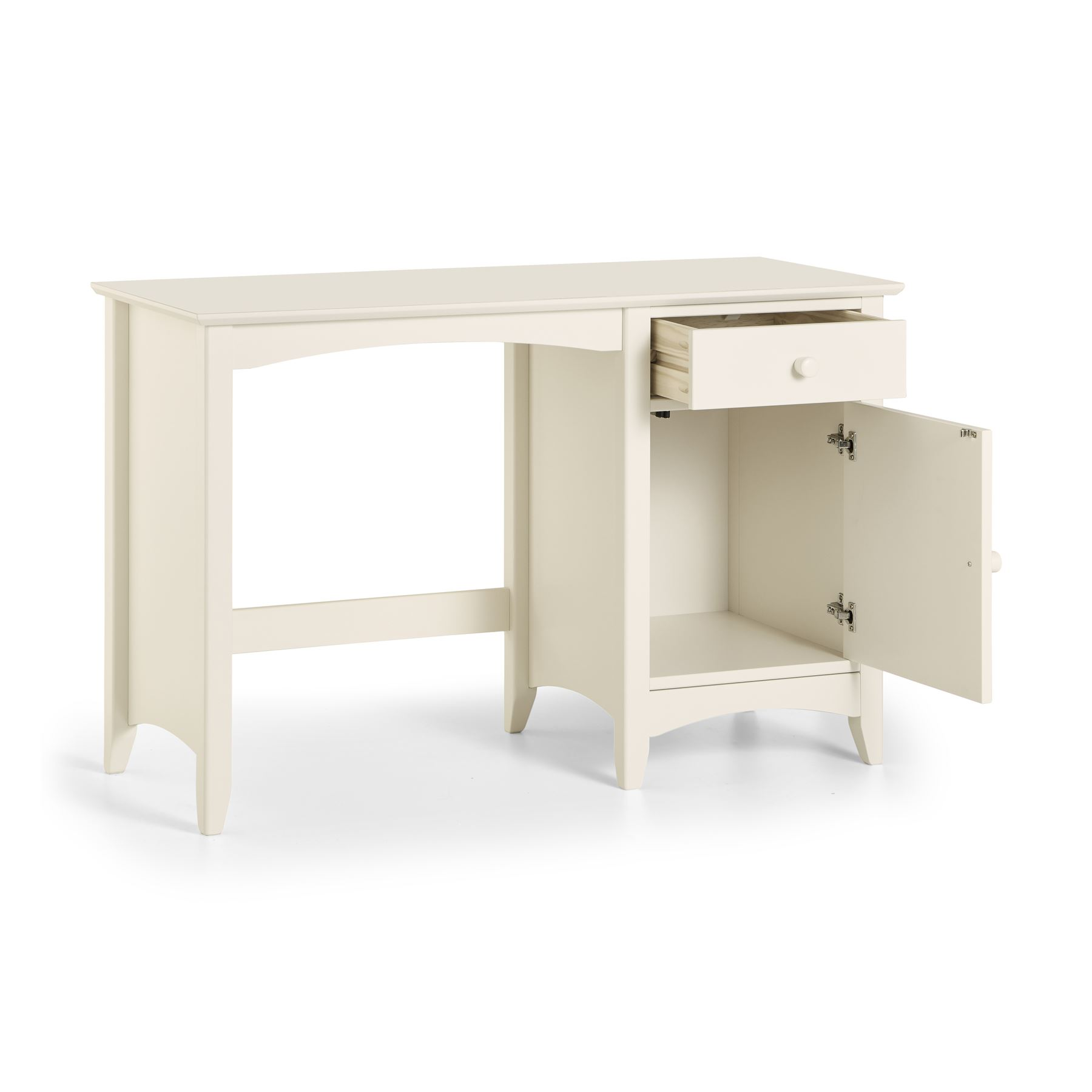 Julian Bowen Cameo Stone White Wood Student Study Desk 1 Drawer & Cupboard