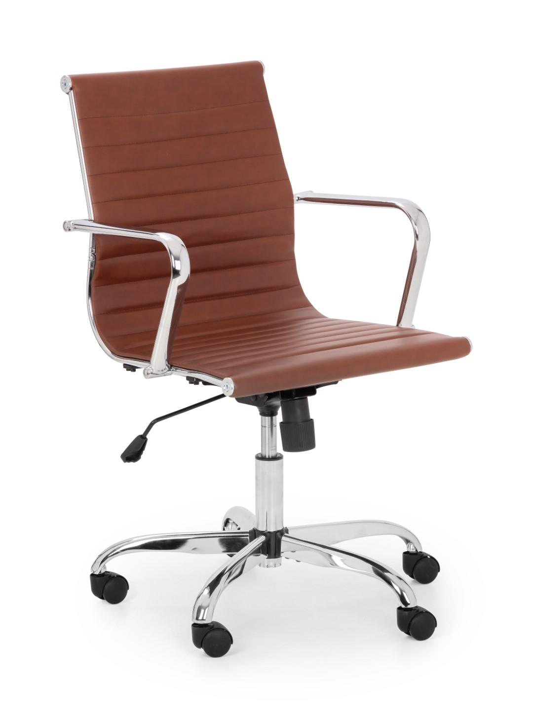 Julian Bowen Gio Office Desk Computer Chair Brown Leather Chrome Adjustable