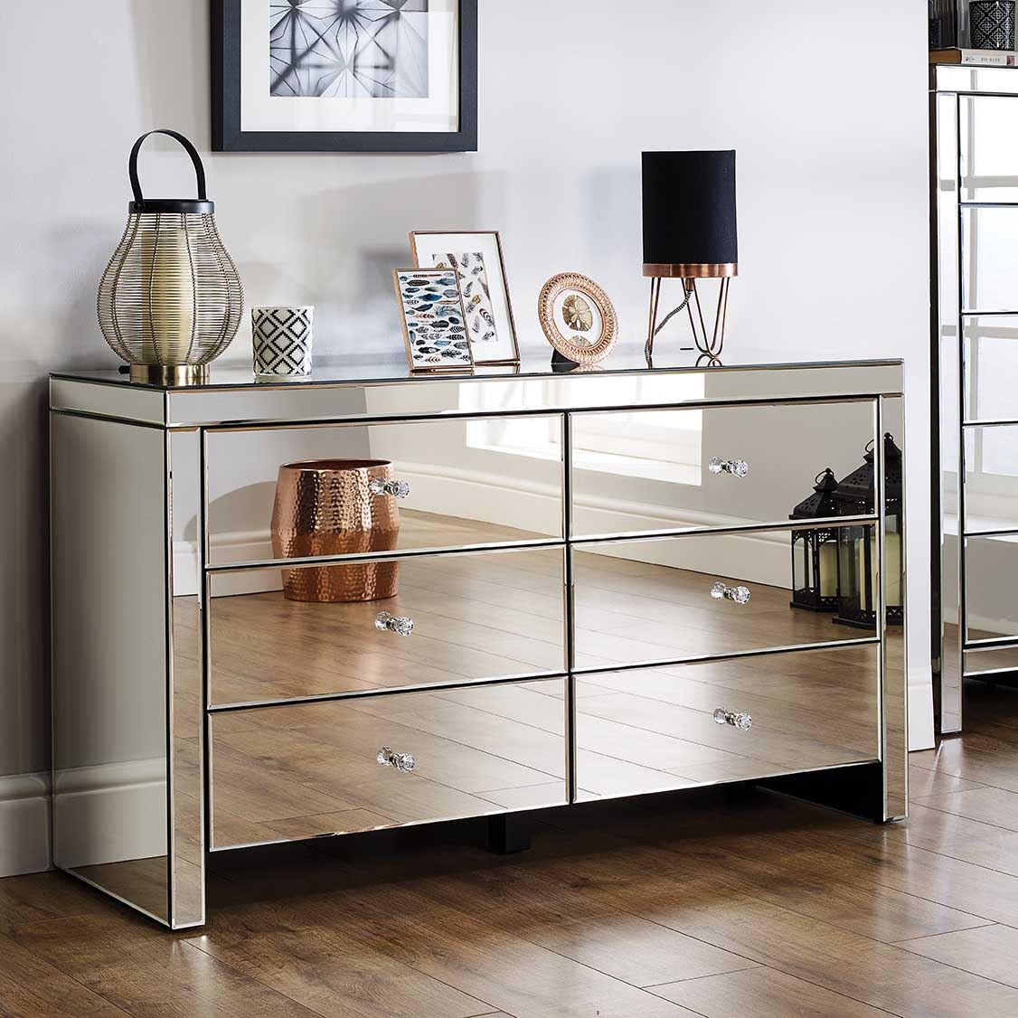 Birlea Seville Mirrored 6 Drawer Bevelled Mirror Chest Crystal Handle