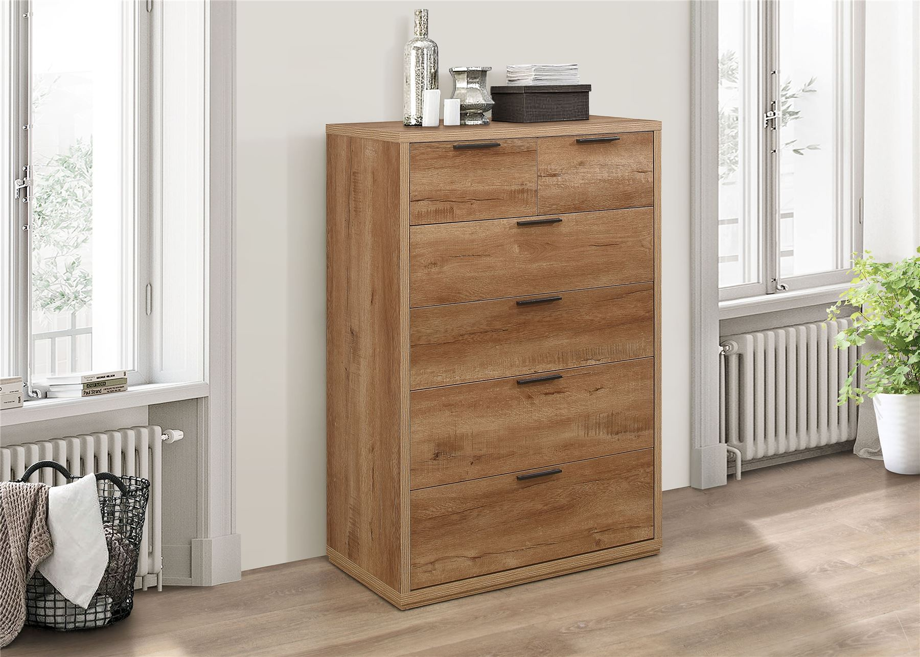 Birlea Stockwell Rustic Oak 4+2 large Chest of Drawers Urban Industrial design