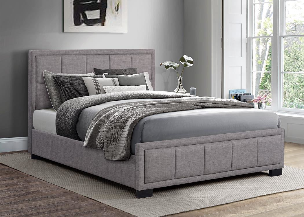 Birlea Hannover Light Grey Fabric Bed Frame 135cm Double 4ft6 Bedstead