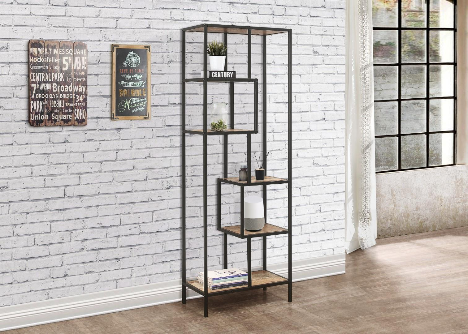Birlea Urban Industrial Chic Tall Bookcase Shelving Unit Rustic Metal Wood