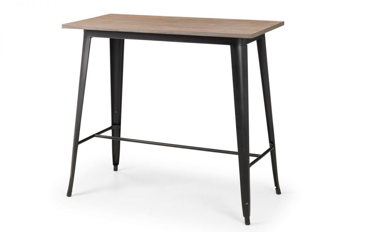 Julian Bowen Grafton Bar Dining Table Industrial Metal Sold Elm Wood Top
