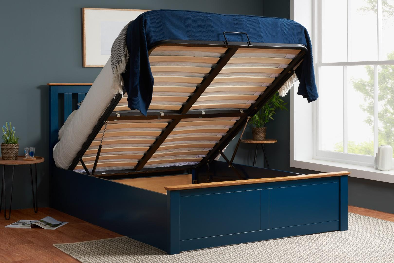 Phoenix Wood Ottoman Bed Frame Storage King Size 5FT Navy Blue Oak Solid