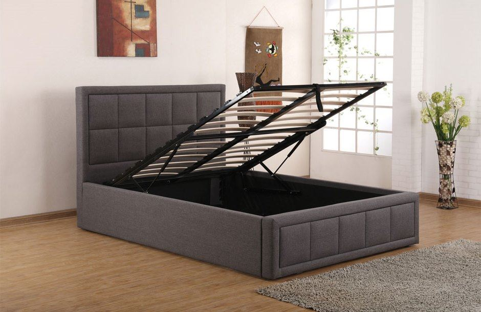 Sweet Dreams Sia Single 90cm 3FT Grey Fabric Ottoman Storage Bed Frame