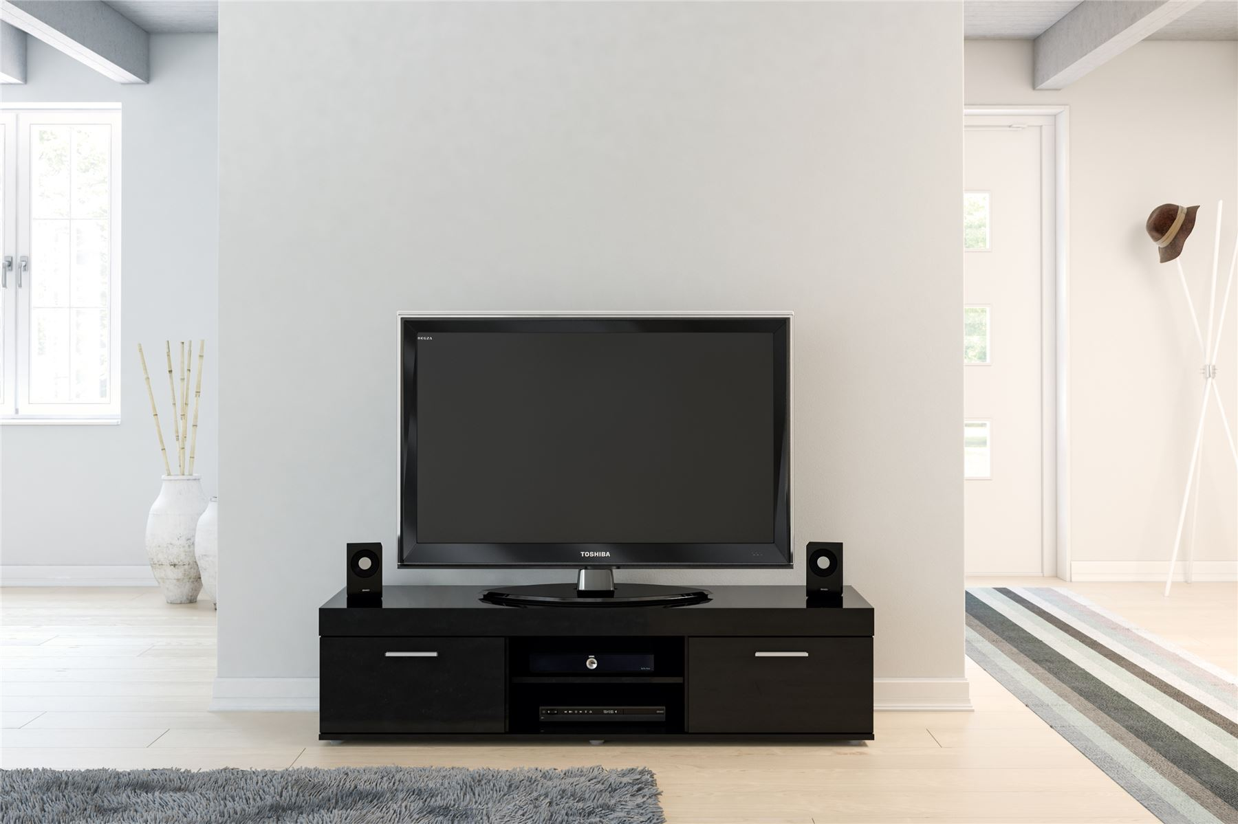Black Gloss Living Room Cupboard TV Entertainment Unit Stand Cabinet