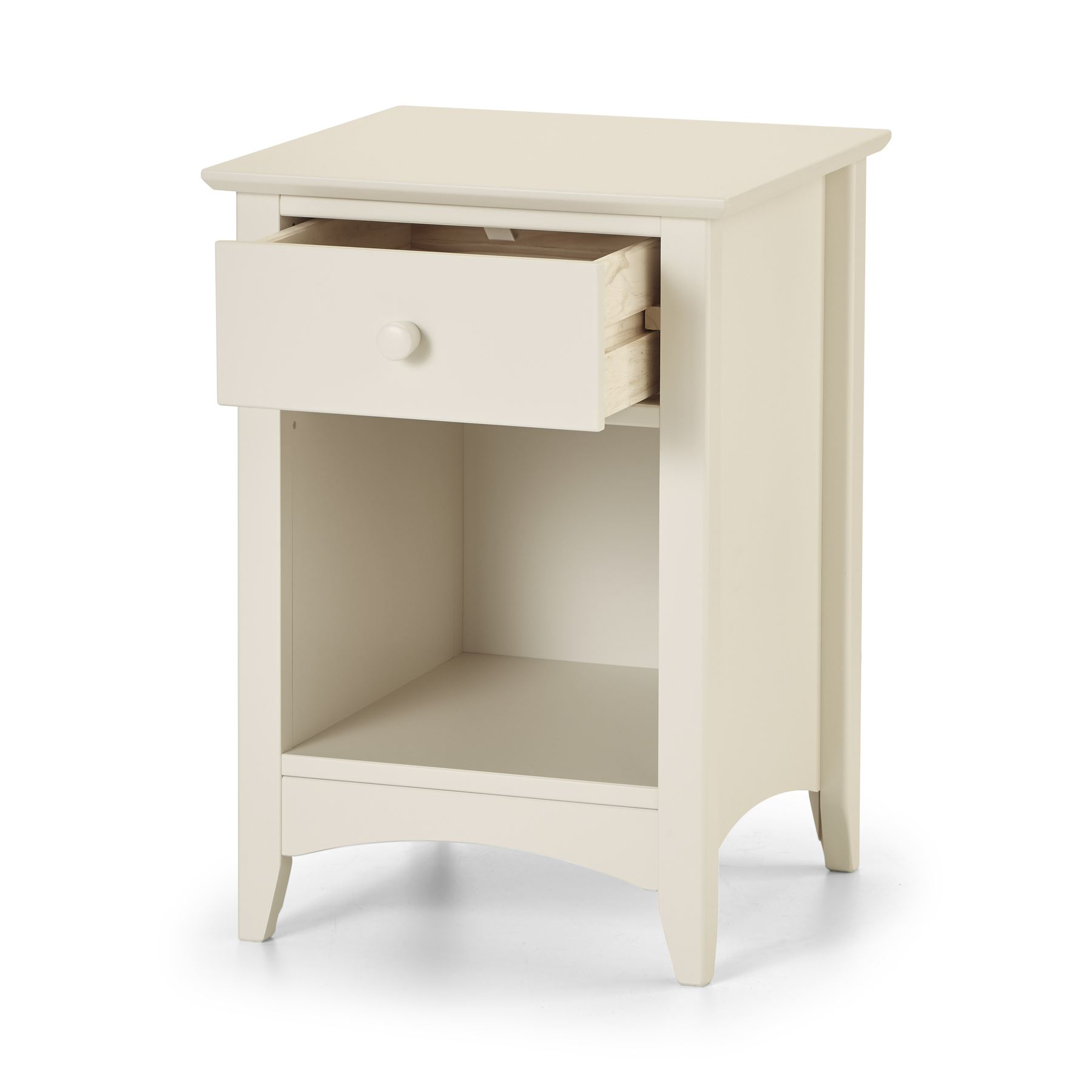 Julian Bowen Cameo Stone White Wood 1 Drawer Bedside Cabinet Table night Stand