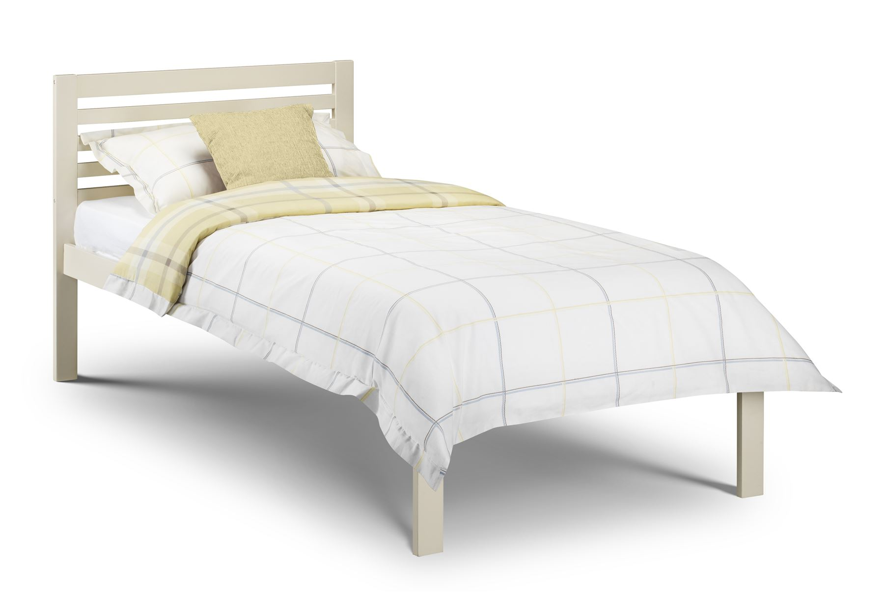Julian Bowen Slocum Single 90cm 3FT Wood Bedstead Bed Frame in Stone White