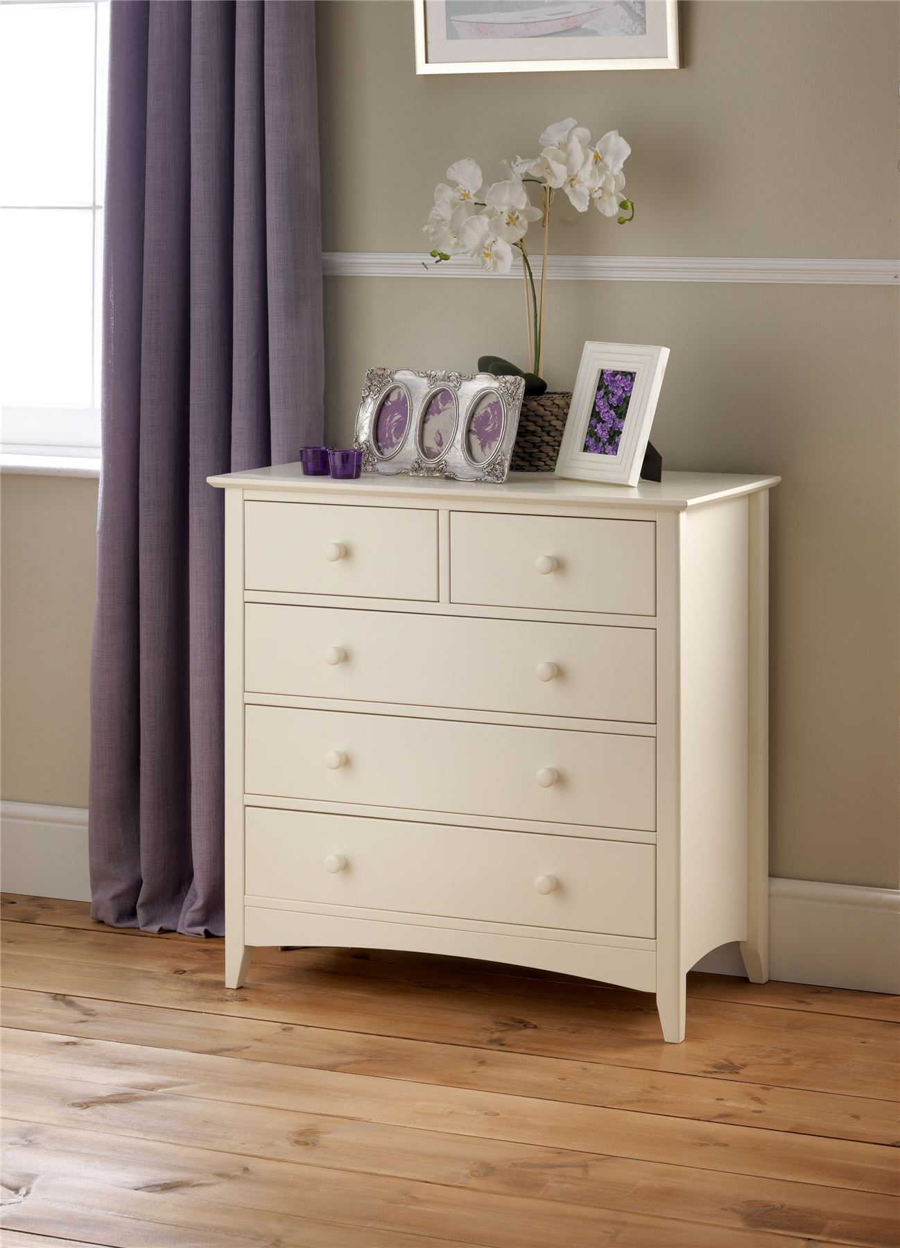 Julian Bowen Cameo Stone White Wood 3+2 Drawer Chest of Drawers