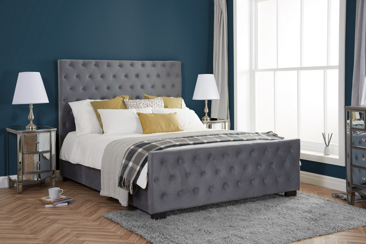 Birlea Marquis Double 4FT6 Bed Frame 135cm Grey Velvet Fabric Deep Buttoned