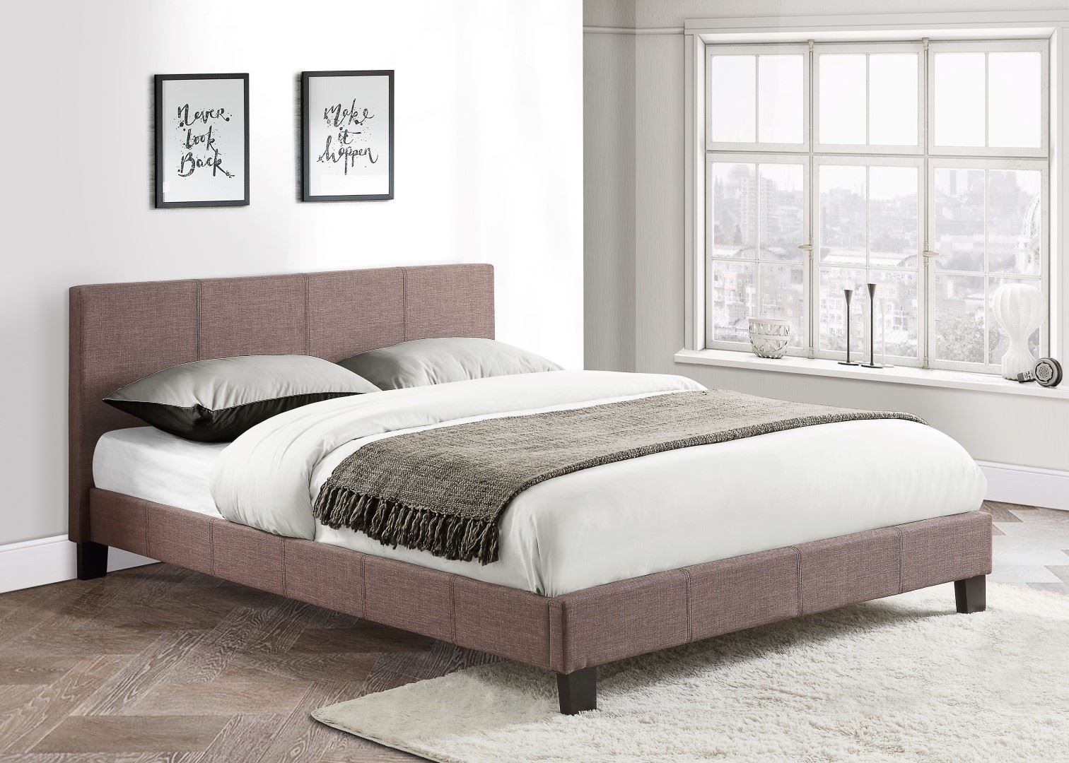 Birlea Berlin Grey Fabric Bed Double 4FT6 135CM Frame Upholstered