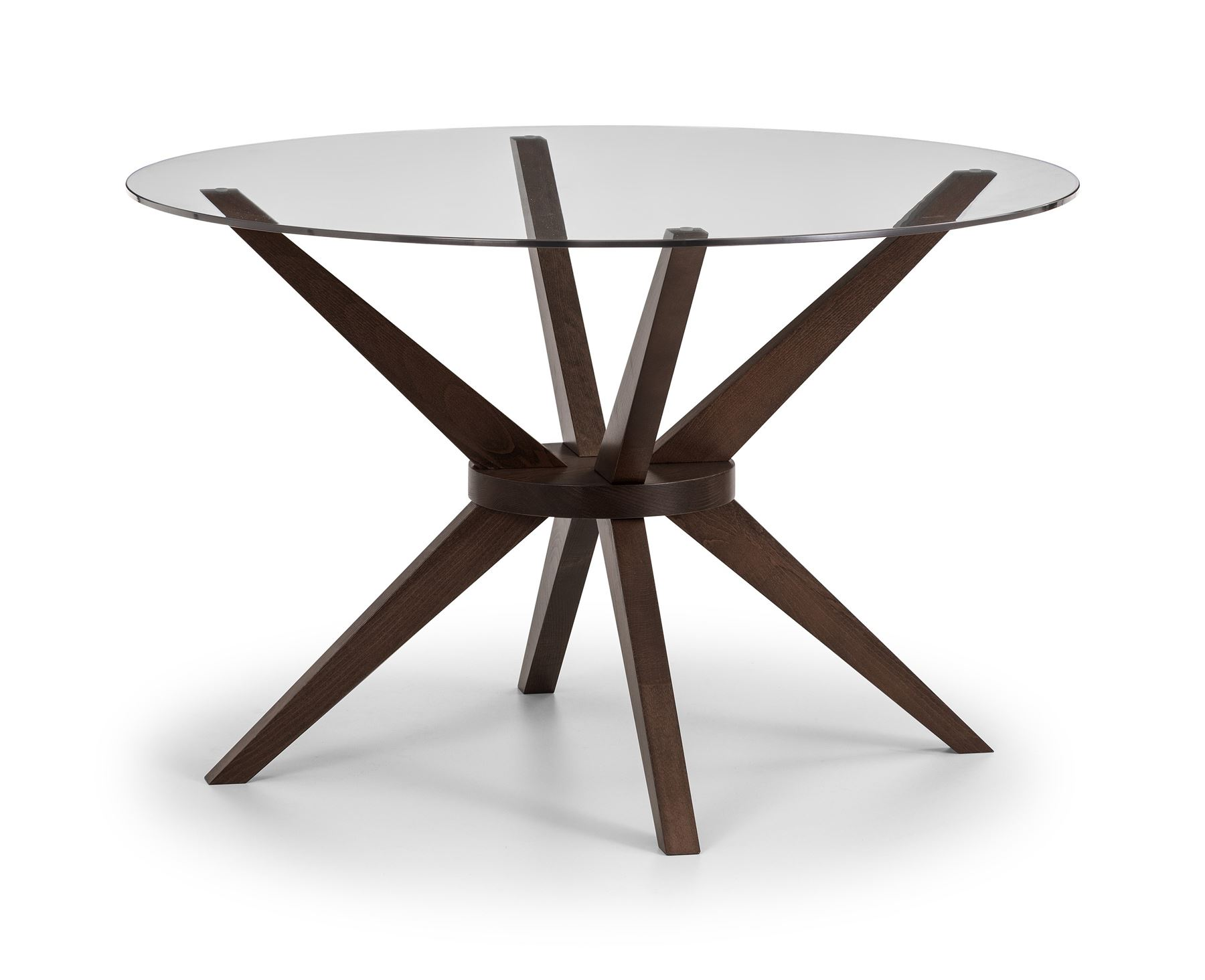 Julian Bowen Chelsea Round Dining Table Glass & Solid Beech with Walnut Finish.