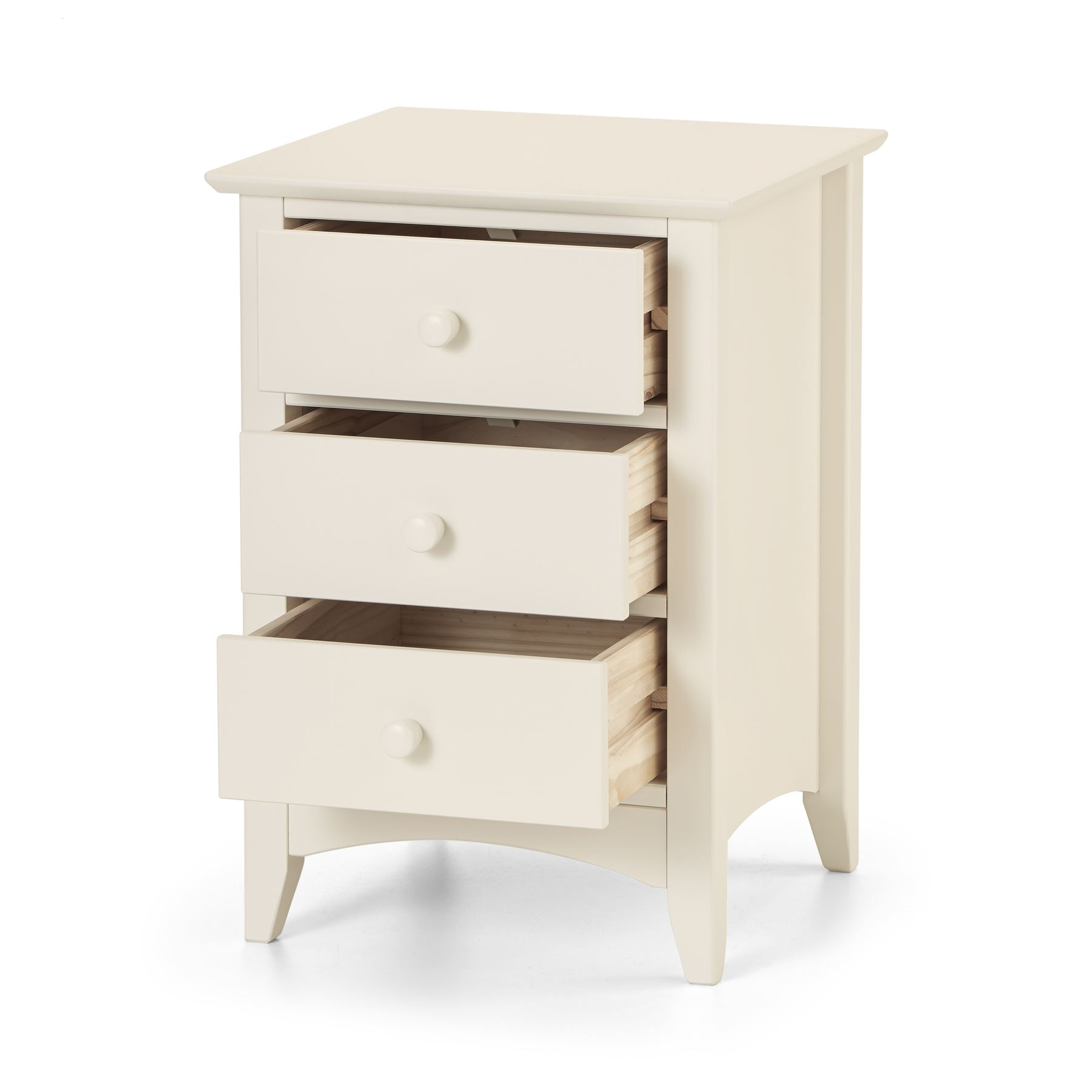Julian Bowen Cameo Stone White Wood 3 Drawer Bedside Cabinet Night Stand Table