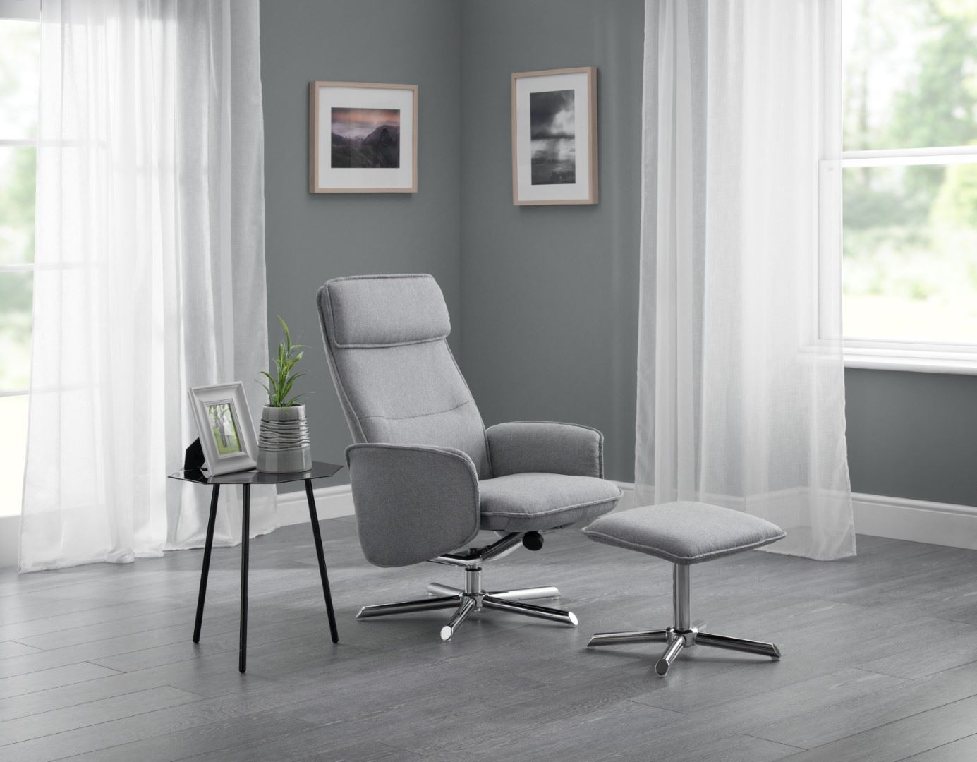 Julian Bowen Aria Contemporary Swivel Recline Chair Light Grey Linen Chrome
