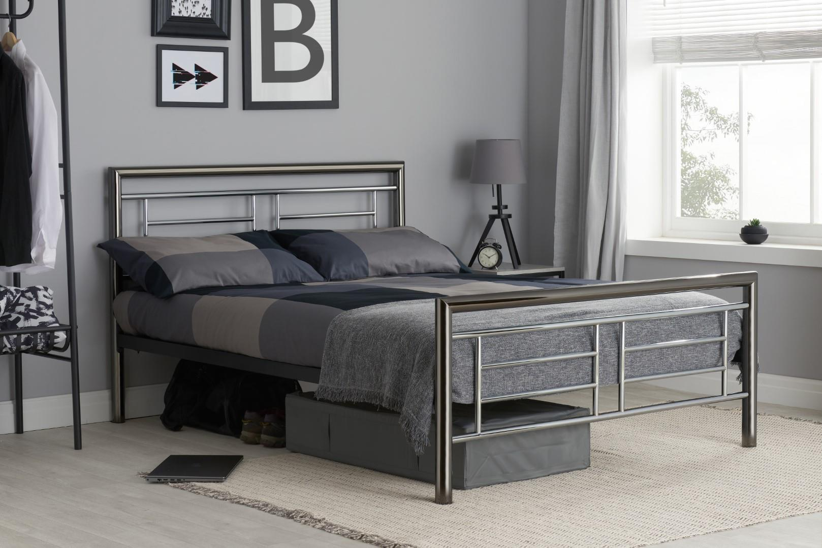 Birlea Montana Chrome & Black Nickel 135cm 4FT6 Double Metal Bed Frame Bedstead