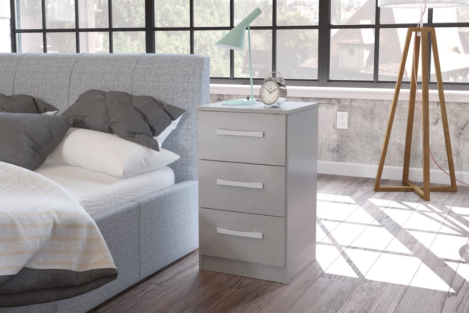 Birlea Grey Gloss Lynx 3 Drawer Bedside Chest Night Stand Modern Bedroom