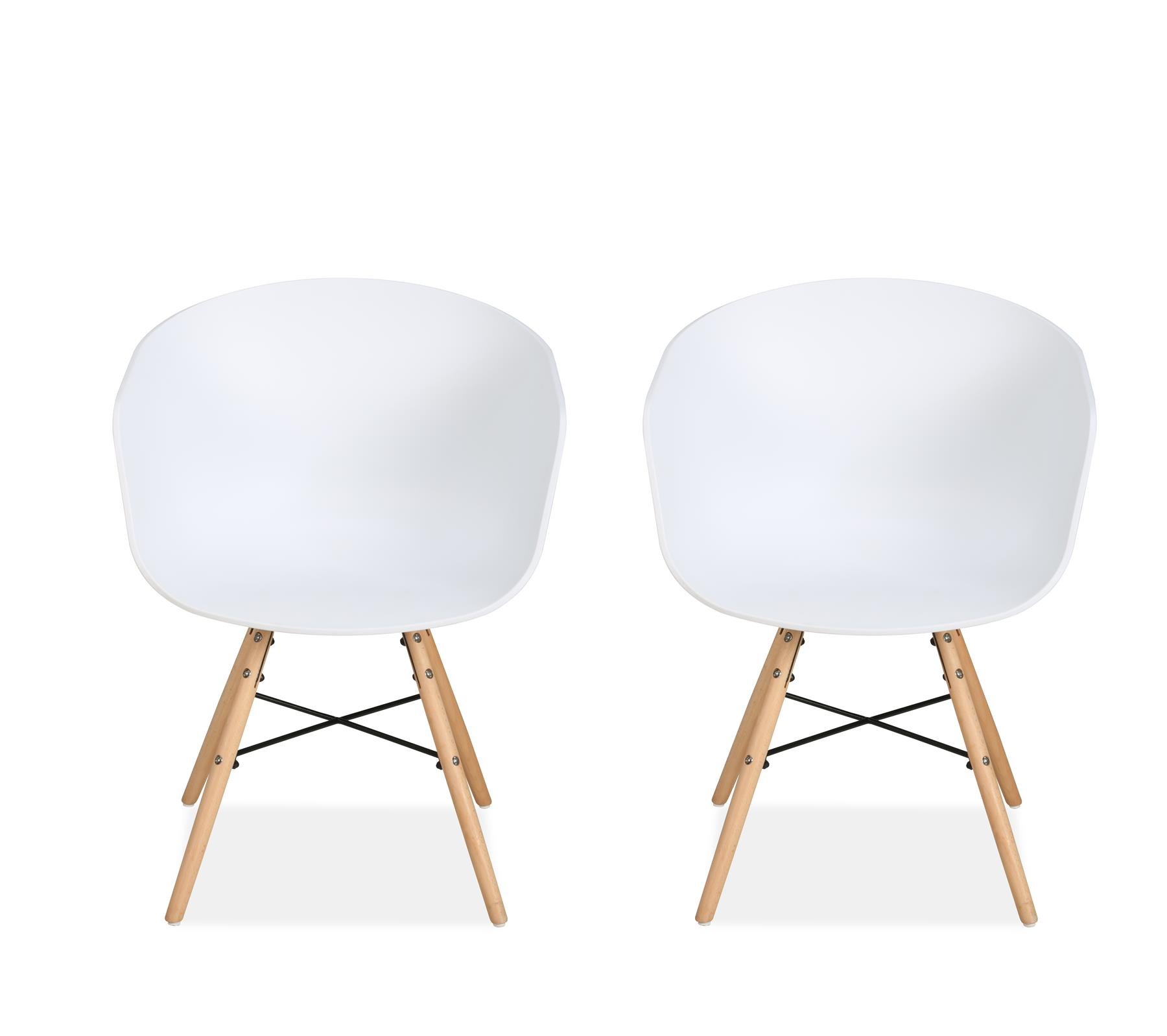 Birlea Kipling 2x White Dining Chair Scandinavian Modern Retro Design Pair Wood