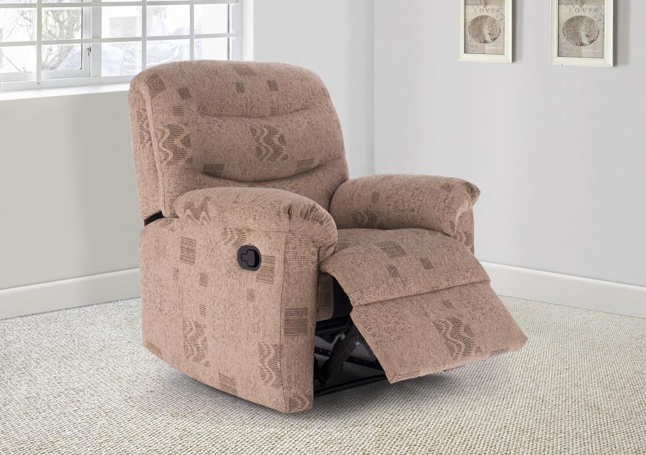 Birlea Regency Manual Recliner Chair Upholstered Wheat Fabric