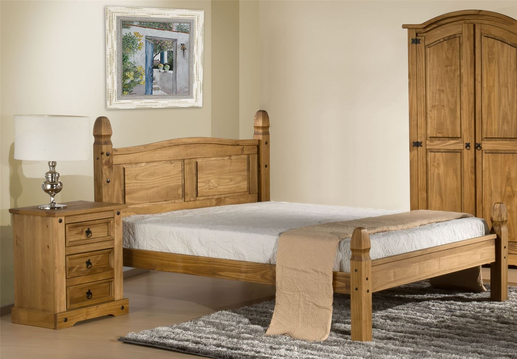 Corona Mexican Solid Pine Low Foot End 150cm Bedstead 5FT Kingsize bed Frame
