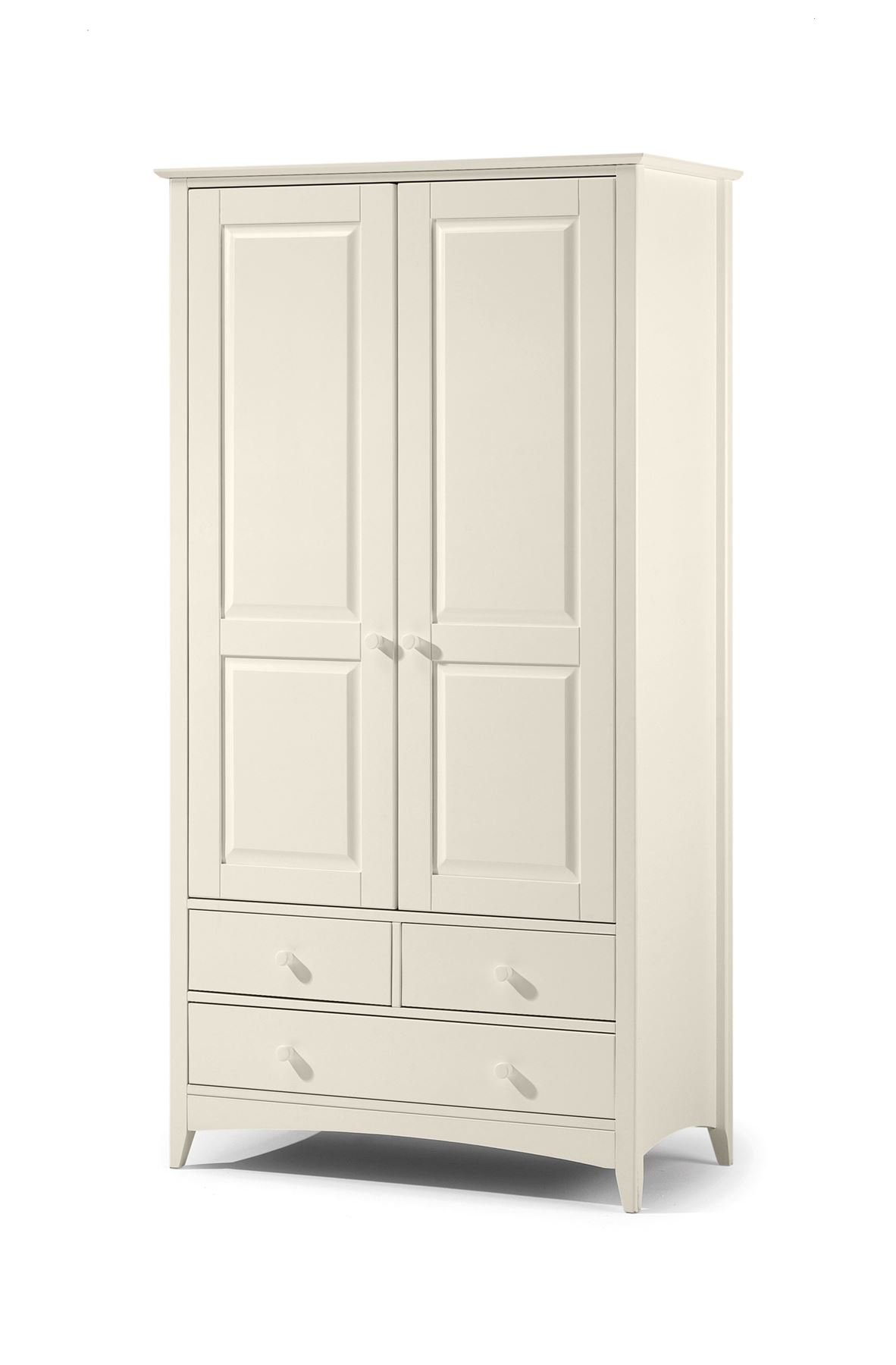 Julian Bowen Cameo Stone White Wood 2 Door 3 Drawers Combi Robe Wardrobe
