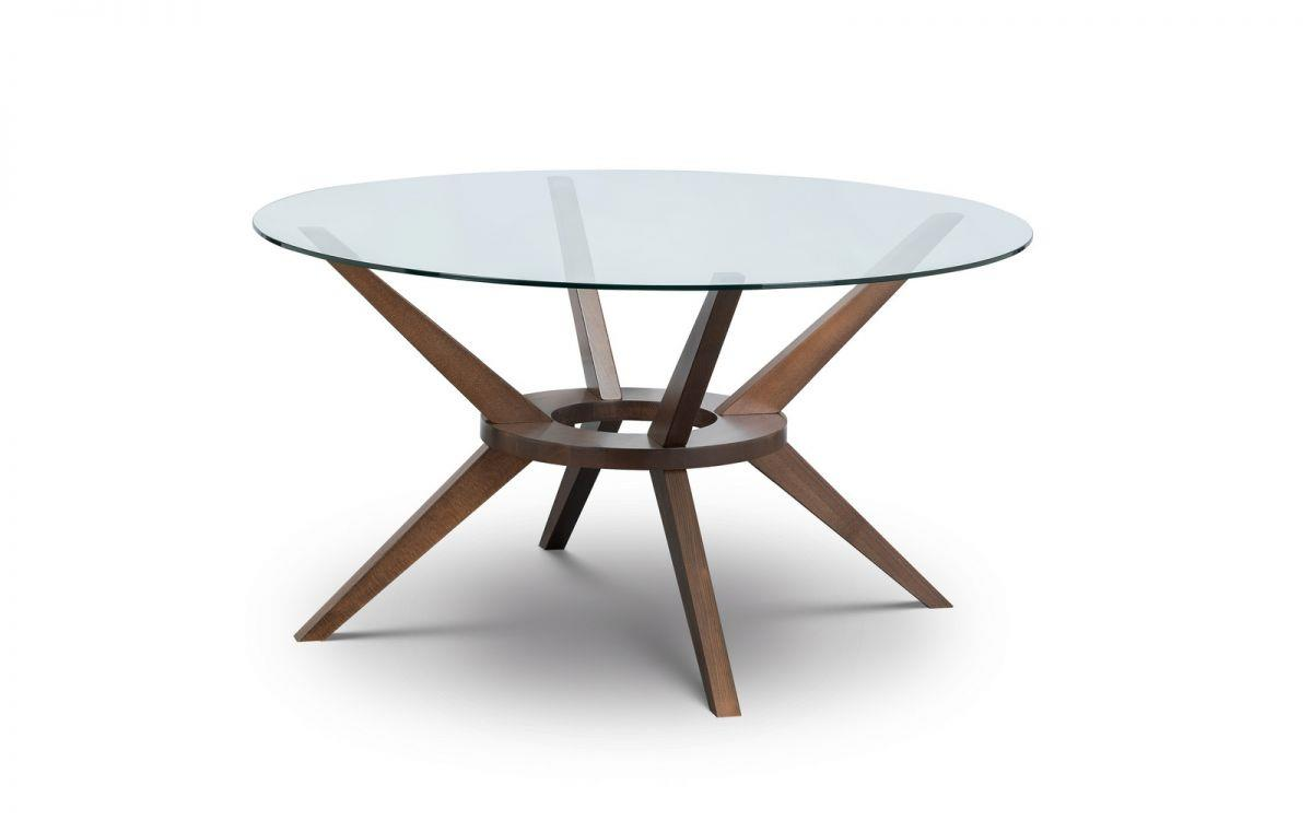 Julian Bowen Chelsea Large Round Dining Table Glass Solid Beech Walnut Finish