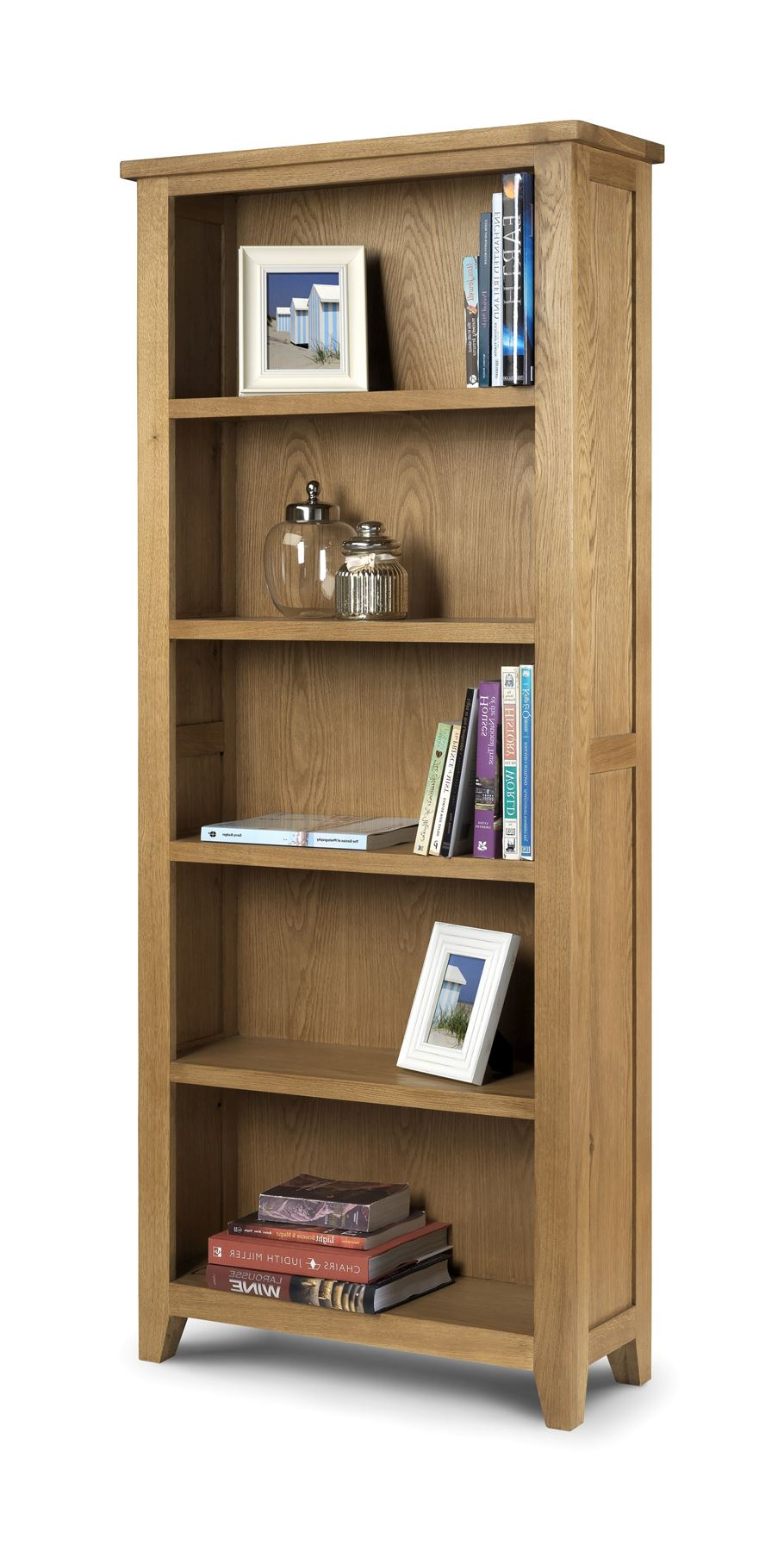 Julian Bowen Astoria Solid Oak Waxed Finish Wood Tall Bookcase